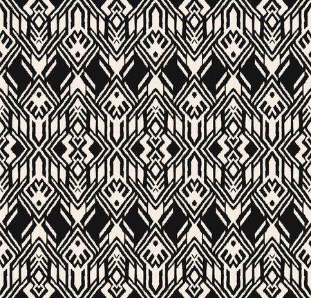 Ikat geometric folklore ornament. Oriental vector damask pattern. Ancient art of Arabesque. Tribal ethnic texture. Spanish motif on the carpet. Aztec style. Indian rug. Gypsy, Mexican embroidery. Foto de archivo - 148954270