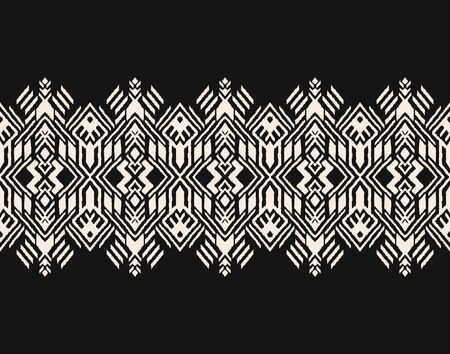 Ikat geometric folklore ornament. Oriental vector damask pattern. Ancient art of Arabesque. Tribal ethnic texture. Spanish motif on the carpet. Aztec style. Indian rug. Gypsy, Mexican embroidery. Foto de archivo - 148954448