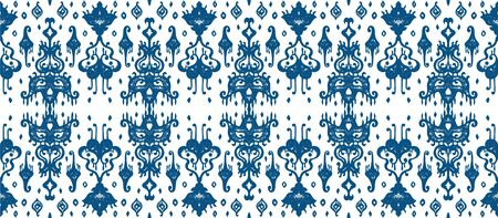 Ikat geometric folklore ornament. Oriental vector damask pattern. Ancient art of Arabesque. Tribal ethnic texture. Spanish motif on the carpet. Aztec style. Indian rug. Gypsy, Mexican embroidery. Foto de archivo - 148954838