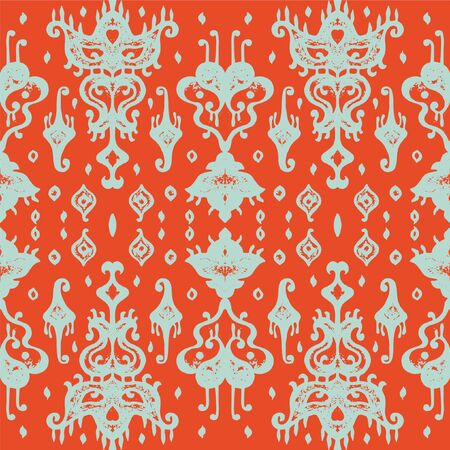 Ikat geometric folklore ornament. Oriental vector damask pattern. Ancient art of Arabesque. Tribal ethnic texture. Spanish motif on the carpet. Aztec style. Indian rug. Gypsy, Mexican embroidery. Foto de archivo - 148954919
