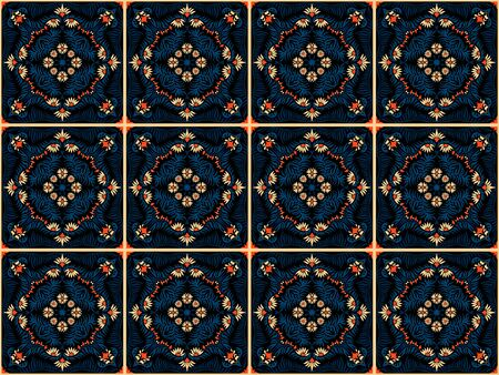 Bandana print. Women's shawl with floral pattern. Mediterranean wallpaper. Portuguese tile azulejo. Turkish ornament. Spanish porcelain. Ceramic dishes. Ilustrace