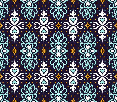 Talavera pattern. Azulejos portugal. Turkish ornament. Moroccan tile mosaic. Spanish porcelain. Ceramic tableware, folk print. Asian pottery. Ethnic background. Mediterranean wallpaper. Art Deco. Ilustrace