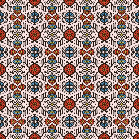 Tribal vector ornament. Seamless African pattern. Ethnic carpet with chevrons. Aztec style. Geometric mosaic on the tile, majolica. Ancient interior. Asian rug. Geo print on textile. Kente Cloth. Ilustracje wektorowe
