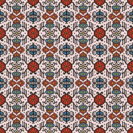 Tribal vector ornament. Seamless African pattern. Ethnic carpet with chevrons. Aztec style. Geometric mosaic on the tile, majolica. Ancient interior. Asian rug. Geo print on textile. Kente Cloth. Vektoros illusztráció