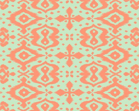Lace border. Ikat seamless pattern. Vector tie dye shibori print with stripes and chevron. Ink textured japanese background. Ethnic fabric. Bohemian fashion. African creative. Damask rug. Фото со стока - 150479849