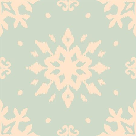 Christmas drawing with snowflakes. The Nordic style. Folk print with flakes. Scandinavian, Portuguese ornament. Spanish porcelain. Oriental damask. Ethnic motif. Ikat geometric folklore background.  Çizim