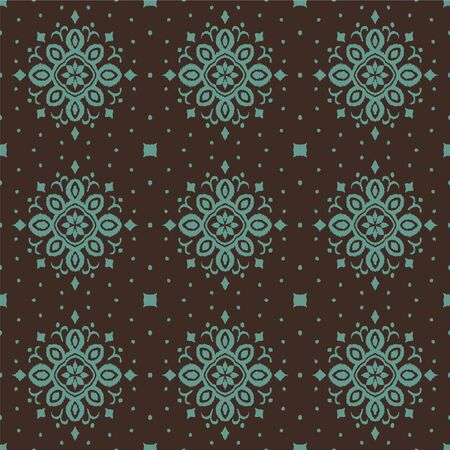 Ikat seamless pattern. Border with snowflakes. Openwork lace. New year Christmas background. Vector tie dye shibori print with stripes and chevron. Ink textured japanese background. Bohemian fashion. Çizim