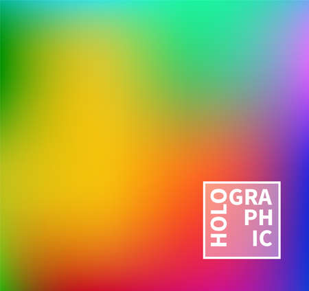 Holographic Vector Background. Iridescent Foil. Glitch Hologram. Pastel neon rainbow. Ultraviolet metallic paper. Template for presentation. Cover to web design. Abstract colorful gradient. Ilustracja