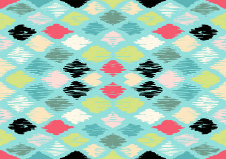 Ikat geometric folklore ornament with diamonds. Tribal ethnic vector texture. Seamless striped pattern in Aztec style. Folk embroidery. Indian, Scandinavian, Gypsy, Mexican, African rug. 스톡 콘텐츠 - 151101821