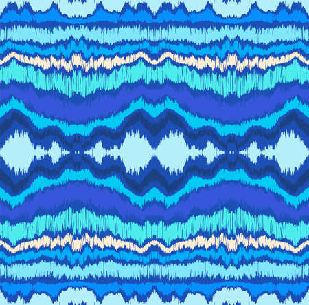 Ikat border. Geometric folk ornament. Ink on clothes. Tribal vector texture. Seamless striped pattern in Aztec style. Ethnic embroidery. Indian, Scandinavian, Gypsy, Mexican, African rug. Stock Illustratie
