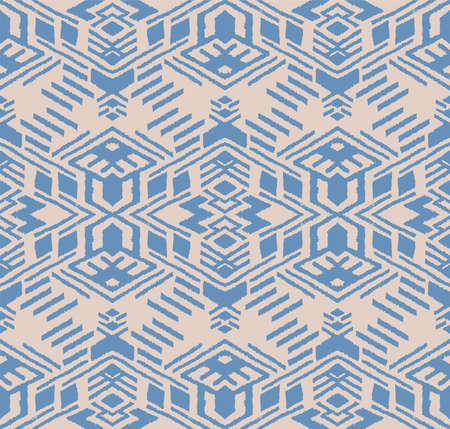 Ikat geometric folklore ornament. Oriental vector damask pattern. Ancient art of Arabesque. Tribal ethnic texture. Spanish motif on the carpet. Aztec style. Indian rug. Gypsy, Mexican embroidery. Foto de archivo - 151367117