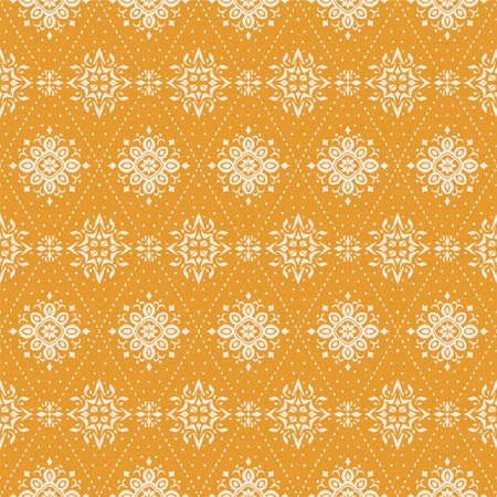 Ikat seamless pattern. Border with snowflakes. Openwork lace. New year Christmas background. Vector tie dye shibori print with stripes and chevron. Ink textured japanese background. Bohemian fashion. Illustration