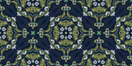 Bandana print. Women's shawl with floral pattern. Mediterranean wallpaper. Portuguese tile azulejo. Turkish ornament. Spanish porcelain. Ceramic dishes. Illustration