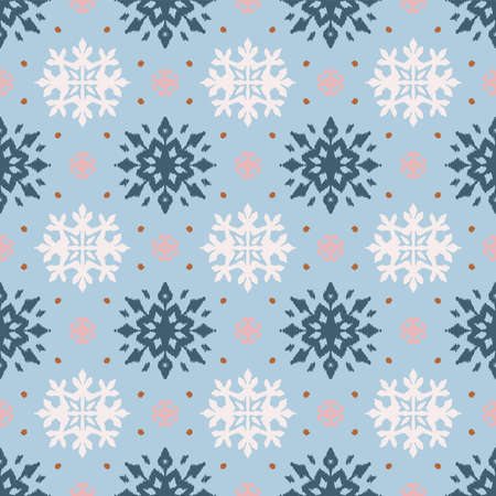 Christmas drawing with snowflakes. The Nordic style. Folk print with flakes. Scandinavian, Portuguese ornament. Spanish porcelain. Oriental damask. Ethnic motif. Ikat geometric folklore background.