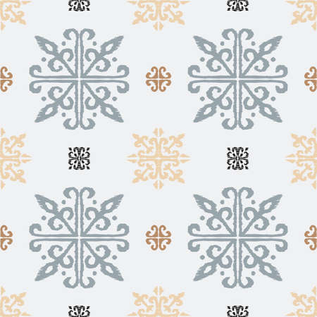 Christmas drawing with snowflakes. The Nordic style. Folk print with flakes. Scandinavian, Portuguese ornament. Spanish porcelain. Oriental damask. Ethnic motif. Ikat geometric folklore background.  Illustration