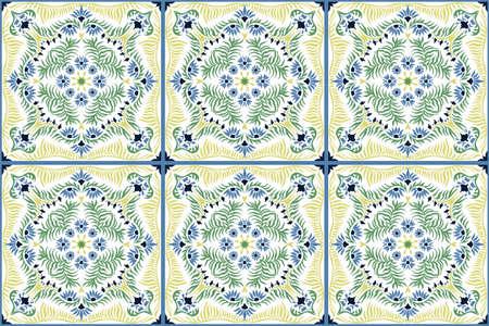 Bandana print. Women's shawl with floral pattern. Mediterranean wallpaper. Portuguese tile azulejo. Turkish ornament. Spanish porcelain. Ceramic dishes.