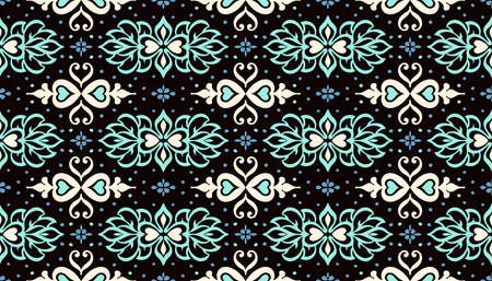Talavera pattern. Azulejos portugal. Turkish ornament. Moroccan tile mosaic. Spanish porcelain. Ceramic tableware, folk print. Asian pottery. Ethnic background. Mediterranean wallpaper. Art Deco. 矢量图像