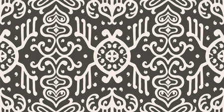 Ikat geometric folklore ornament. Oriental vector damask pattern. Ancient art of Arabesque. Tribal ethnic texture. Spanish motif on the carpet. Aztec style. Indian rug. Gypsy, Mexican embroidery. Vectores