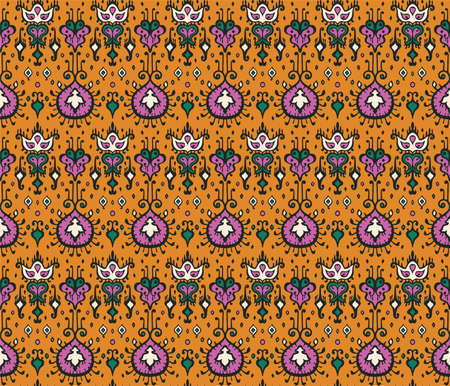 Oriental damask pattern. Ancient art of Arabesque. Tribal ethnic texture. Spanish motif on the carpet. Aztec style. Indian rug. Gypsy, Mexican embroidery.