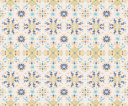 Seamless floral pattern folk colorful flowers and leaves. Flower embroidery. Indian patchwork. Turkish ornament. Spanish ethnic background. Mediterranean seamless wallpaper. 矢量图像
