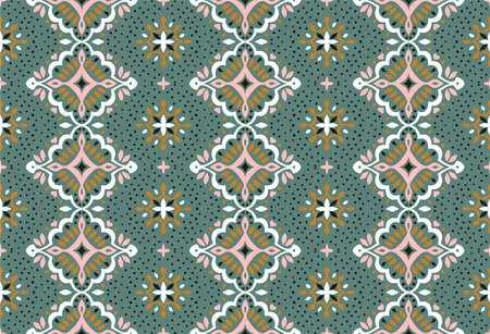 Oriental damask pattern. Turkish ornament. Spanish porcelain. Ceramic tableware, folk print. Ethnic background. Mediterranean wallpaper. 矢量图像