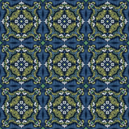 Bandana print. Women's shawl with floral pattern. Mediterranean wallpaper. Portuguese tile azulejo. Turkish ornament. Spanish porcelain. Ceramic dishes. 矢量图像