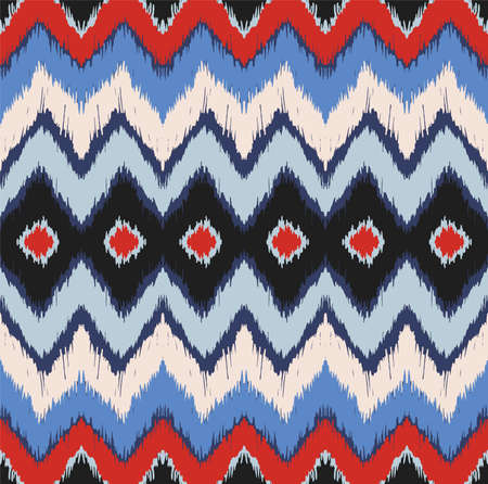 Ikat border. Geometric folk ornament. Ink on clothes. Tribal vector texture. Seamless striped pattern in Aztec style. Ethnic embroidery. Indian, Scandinavian, Gypsy, Mexican, African rug. Vectores