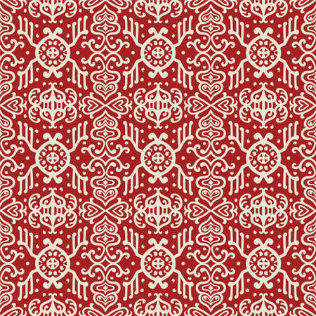 Ikat geometric folklore ornament. Oriental vector damask pattern. Ancient art of Arabesque. Tribal ethnic texture. Spanish motif on the carpet. Aztec style. Indian rug. Gypsy, Mexican embroidery. 向量圖像
