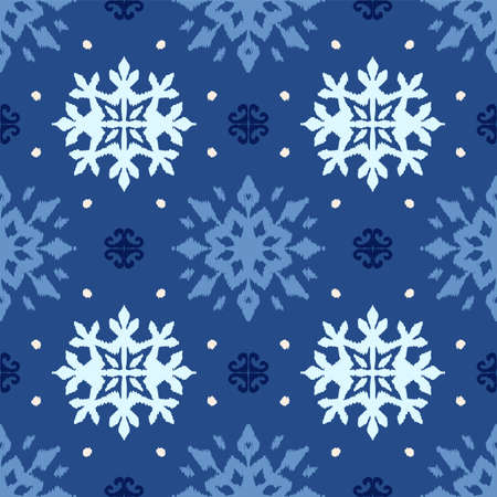 Christmas drawing with snowflakes. The Nordic style. Folk print with flakes. Scandinavian, Portuguese ornament. Spanish porcelain. Oriental damask. Ethnic motif. Ikat geometric folklore background.  Ilustração