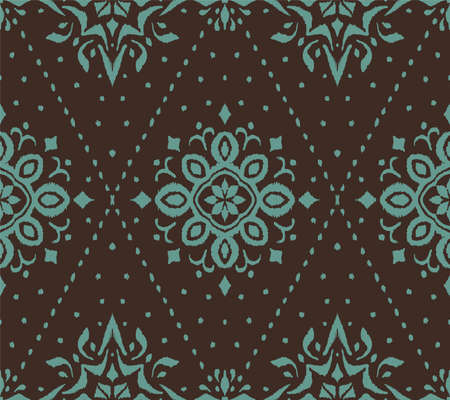 Ikat seamless pattern. Border with snowflakes. Openwork lace. New year Christmas background. Vector tie dye shibori print with stripes and chevron. Ink textured japanese background. Bohemian fashion. Ilustração