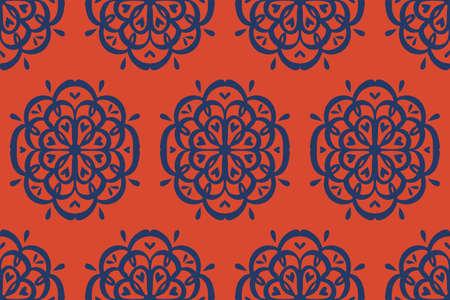 Oriental vector damask pattern. Talavera pottery. Azulejos portugal. Turkish ornament. Spanish porcelain. Ceramic tableware, folk print. Ethnic background. Mediterranean wallpaper.  Talavera pottery. Ilustração