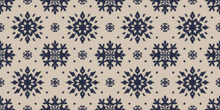 Christmas drawing with snowflakes. The Nordic style. Folk print with flakes. Scandinavian, Portuguese ornament. Spanish porcelain. Oriental damask. Ethnic motif. Ikat geometric folklore background. Vecteurs