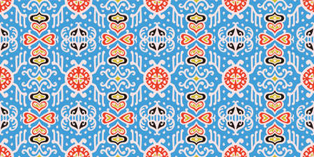 Tribal vector ornament. Seamless African pattern. Ethnic carpet with chevrons. Aztec style. Geometric mosaic on the tile, majolica. Ancient interior. Asian rug. Geo print on textile. Kente Cloth.