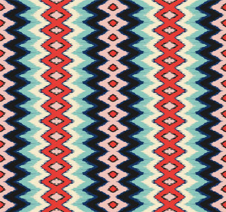 Ikat border. Geometric folk ornament. Ink on clothes. Tribal vector texture. Seamless striped pattern in Aztec style. Vettoriali
