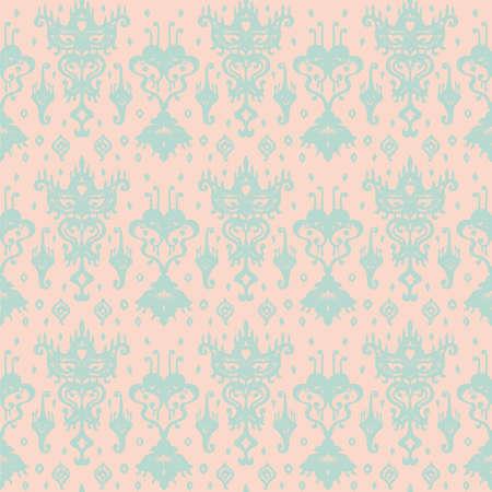 Ikat geometric folklore ornament. Oriental vector damask pattern. Ancient art of Arabesque. Tribal ethnic texture. Spanish motif on the carpet. Aztec style. Indian rug. Gypsy, Mexican embroidery. Illusztráció