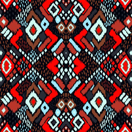 Ikat geometric folklore ornament with diamonds. Tribal ethnic vector texture. Seamless striped pattern in Aztec style. Folk embroidery. Indian, Scandinavian, Gypsy, Mexican, African rug. Vetores