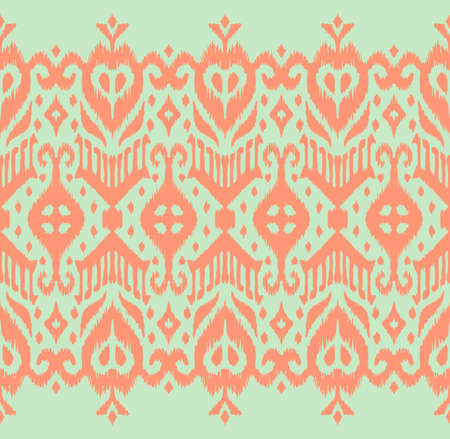 Lace border. Ikat seamless pattern. Vector tie dye shibori print with stripes and chevron. Ink textured japanese background. Ethnic fabric. Bohemian fashion. African creative. Damask rug. 免版税图像 - 157997452