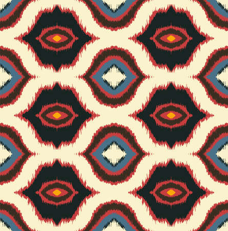 Ikat geometric folklore ornament with diamonds. Tribal ethnic vector texture. Seamless striped pattern in Aztec style. Folk embroidery. Indian, Scandinavian, Gypsy, Mexican, African rug. 免版税图像 - 157997461