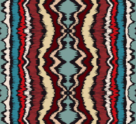 Ikat border. Geometric folk ornament. Ink on clothes. Tribal vector texture. Seamless striped pattern in Aztec style. Ethnic embroidery. Indian, Scandinavian, Gypsy, Mexican, African rug. 矢量图像