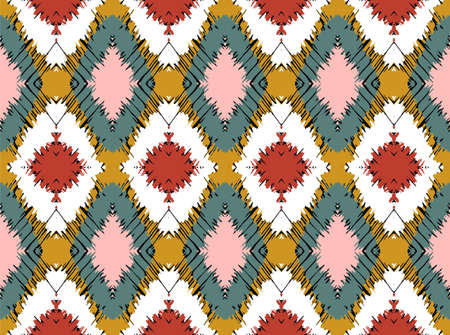 Ikat border. Geometric folk ornament. Tribal vector texture. Seamless striped pattern in Aztec style. Ethnic embroidery. Indian, Scandinavian, Gypsy, Mexican, African rug. 免版税图像 - 157997468