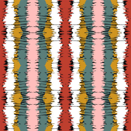 Ikat border. Geometric folk ornament. Tribal vector texture. Seamless striped pattern in Aztec style. Ethnic embroidery. Indian, Scandinavian, Gypsy, Mexican, African rug. 免版税图像 - 157997550