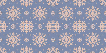 Christmas drawing with snowflakes. The Nordic style. Folk print with flakes. Scandinavian, Portuguese ornament. Spanish porcelain. Oriental damask. Ethnic motif. Ikat geometric folklore background. 免版税图像 - 157997565