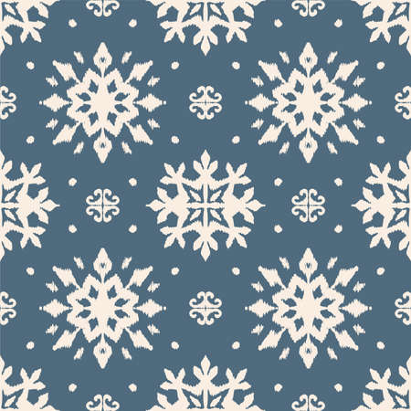 Christmas drawing with snowflakes. The Nordic style. Folk print with flakes. Scandinavian, Portuguese ornament. Spanish porcelain. Oriental damask. Ethnic motif. Ikat geometric folklore background. 免版税图像 - 157997580