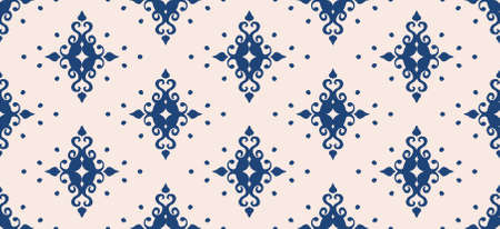 Oriental vector damask pattern. Talavera pottery. Azulejos portugal. Turkish ornament. Spanish porcelain. Ceramic tableware, folk print. Ethnic background. Mediterranean wallpaper.  Talavera pottery. 矢量图像