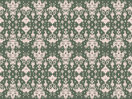 Ikat geometric folklore ornament. Oriental vector damask pattern. Ancient art of Arabesque. Tribal ethnic texture. Spanish motif on the carpet. Aztec style. Indian rug. Gypsy, Mexican embroidery. Иллюстрация