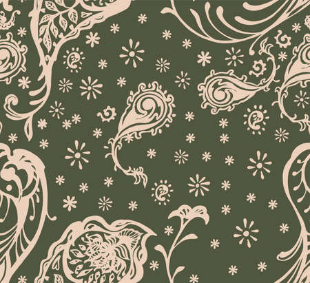 Bandana Print. Vector seamless pattern with paisley ornament. Silk neck scarf or kerchief. Floral vintage background. Asian textile. Tribal texture. Bohemian style. Indian motif.