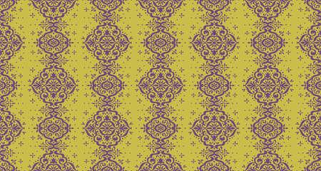 Ikat seamless pattern. Border with snowflakes. Openwork lace. New year Christmas background. Vector tie dye shibori print with stripes and chevron. Ink textured japanese background. Bohemian fashion. Illusztráció