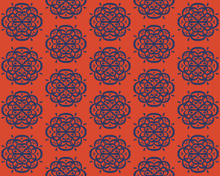 Oriental vector damask pattern. Talavera pottery. Azulejos portugal. Turkish ornament. Spanish porcelain. Ceramic tableware, folk print. Ethnic background. Mediterranean wallpaper.  Talavera pottery. 일러스트