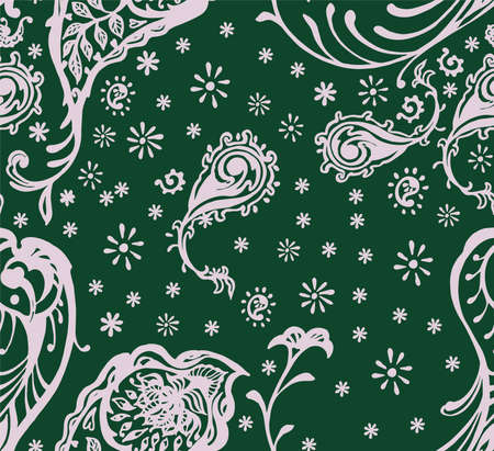 Bandana Print. Vector seamless pattern with paisley ornament. Silk neck scarf or kerchief. Floral vintage background. Asian textile. Tribal texture. Bohemian style. Indian motif. Vectores