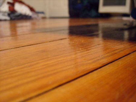 view from ground level of hardwood floor